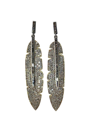 Pave Diamond Brass Feather Earrings with Baguettes