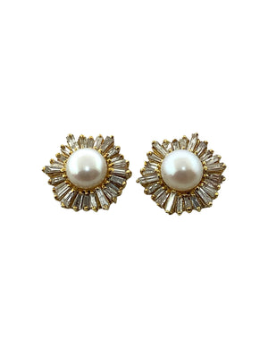 Pearl Studs with Diamond Baguettes
