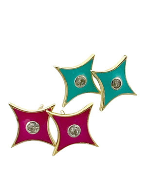 Diamond Center Enamel Brass Cushion Studs