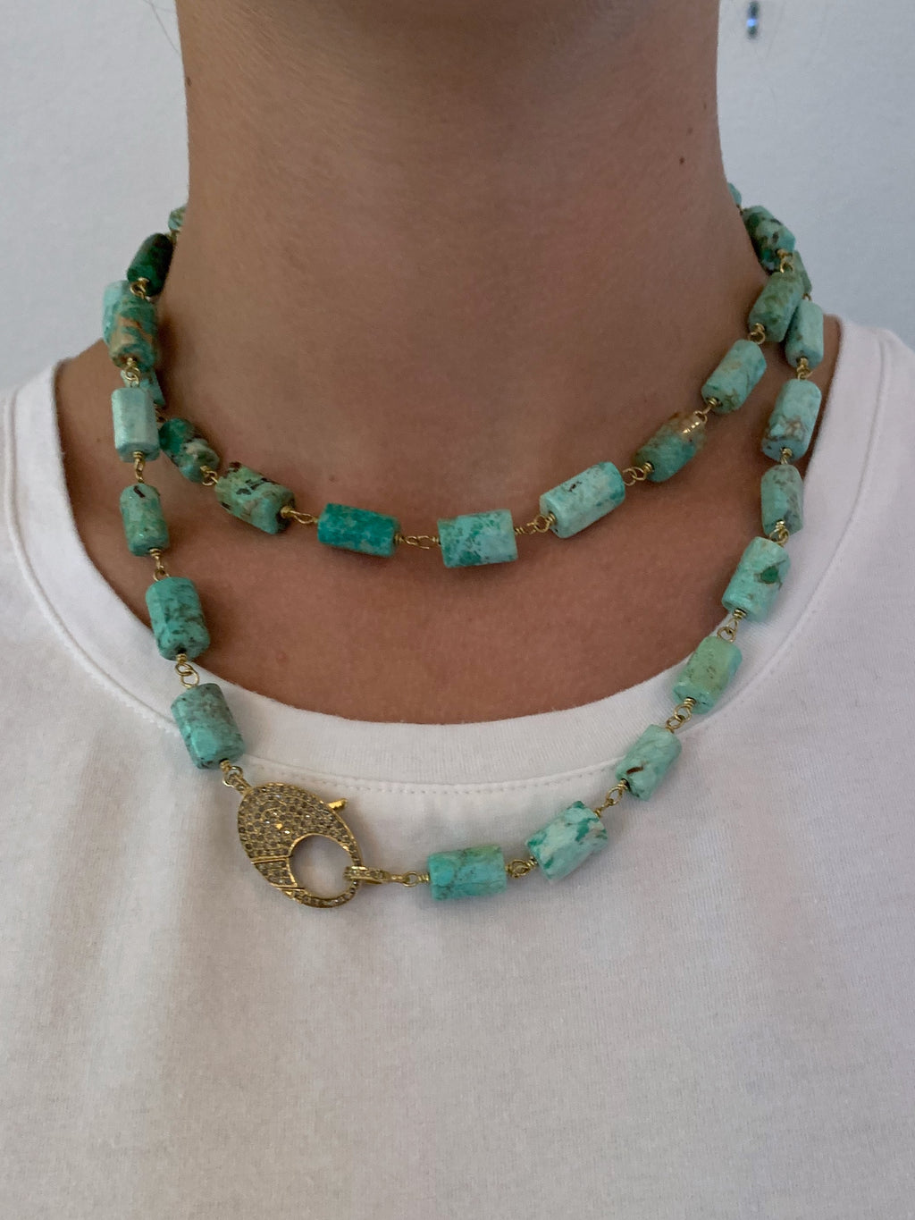 Amazonite Cylinder Beads Wire Wrapped in Brass with Pave Diamond Clip.