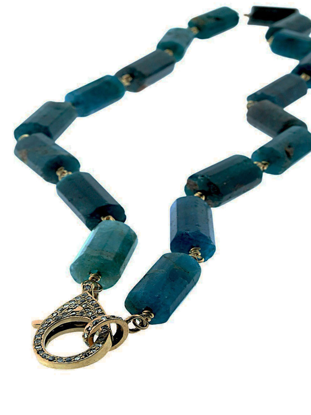 Apatite Cylinder Beads Wire Wrapped in Brass with Pave Diamond Clip.