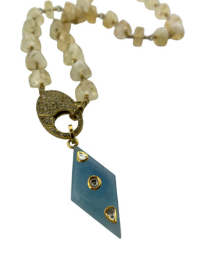 CitrineTriangle Shaped Beads Wire Wrapped in Brass with Pave Diamond Clip.