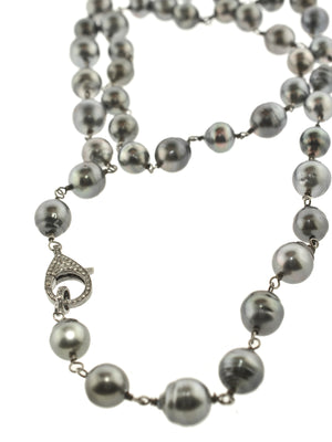 Tahitian Pearls with Pave Diamond Sterling Clasp