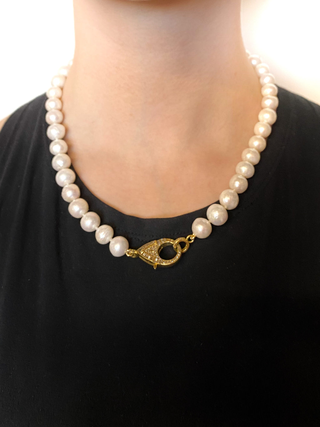 Knotted Freshwater Pearls with Pave Diamond clasp in Brass