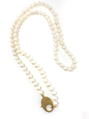 Knotted Freshwater Pearls with Large Pave Diamond clasp