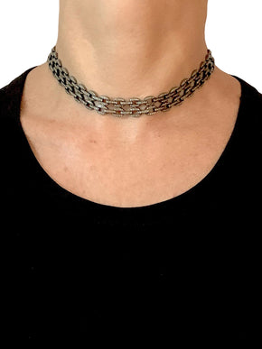 Double Row Choker of Pave Diamond Links with Pave Clasp