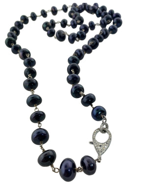 Sterling Silver Wire Wrapped Navy Freshwater Pearls with Pave Diamond Clasp