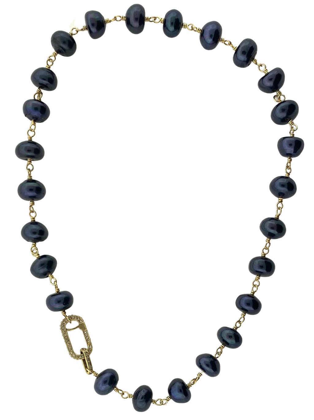 Brass Wire Wrapped Navy Freshwater Pearls With a Pave Diamond Clasp
