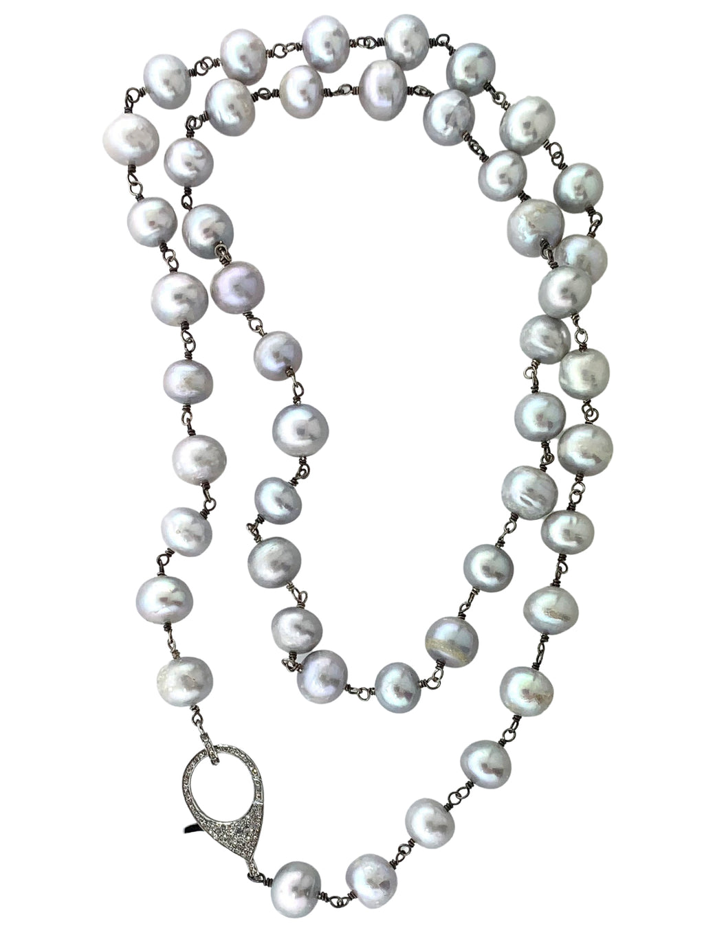 Sterling Silver Wire Wrapped Grey Freshwater Pearls with Pave Diamond Clasp
