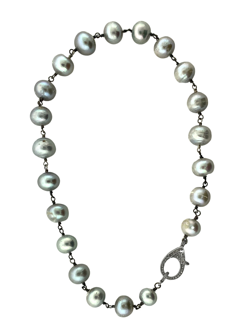 Pave Diamonds and Diamond Baguettes on Clip of Grey Freshwater Pearls Wire Wrapped in SterlingSilver