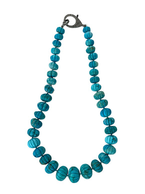 Carved turquoise Gratuated Beads on Sterling Silver Pave Diamond Clasp