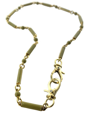 Brass and Enamel Chain with Diamonds on Clasp