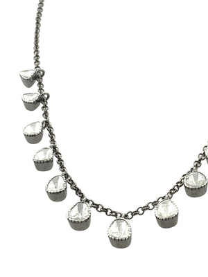 Muti Diamonds Hanging from Sterling Silver Chain.