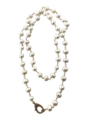 Long White Freshwater Pearls Wire Wrapped in Brass With Pave Diamond Clip
