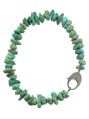 Chunky Turquoise with Pave Diamond Sterling Silver Clasp