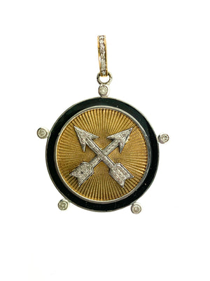Brass Crossed Arrows Pendant