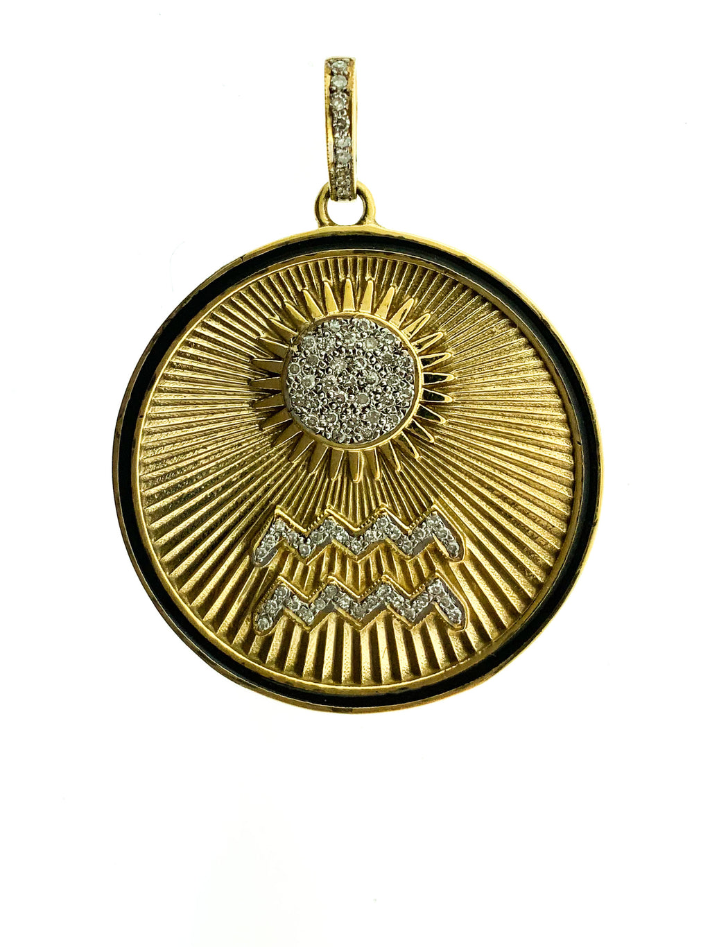 Brass Sun & Waves Pendant