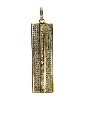 Brass Pave Sides Baguette Center Bar Pendant