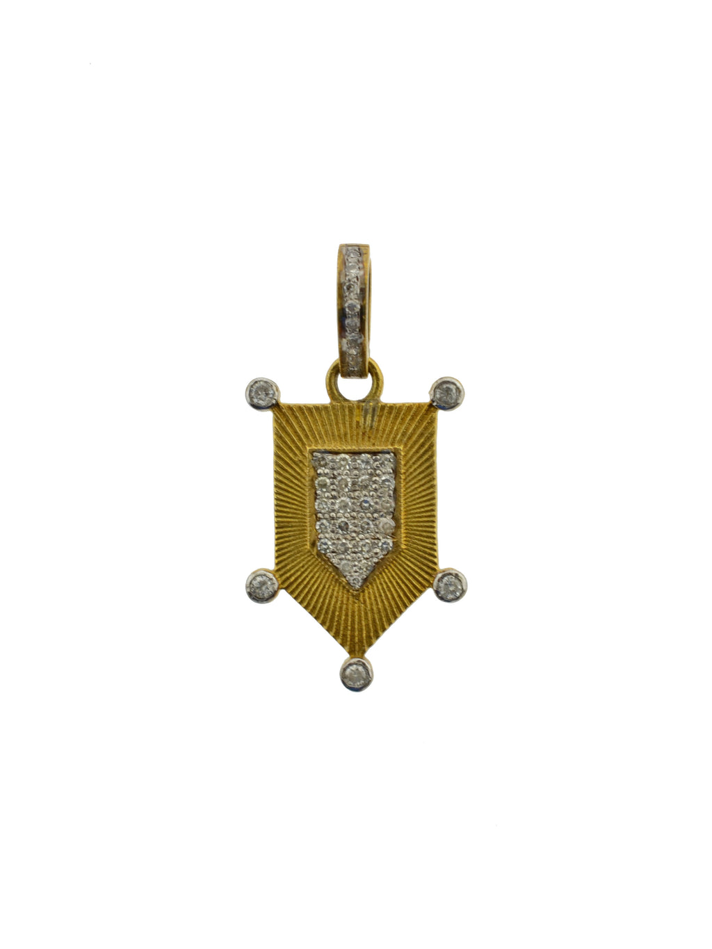 Brass Pave Diamond Mini Shield Pendant