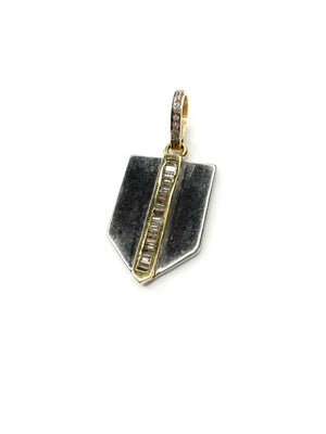 Sterling Baguette Center Shield Pendant