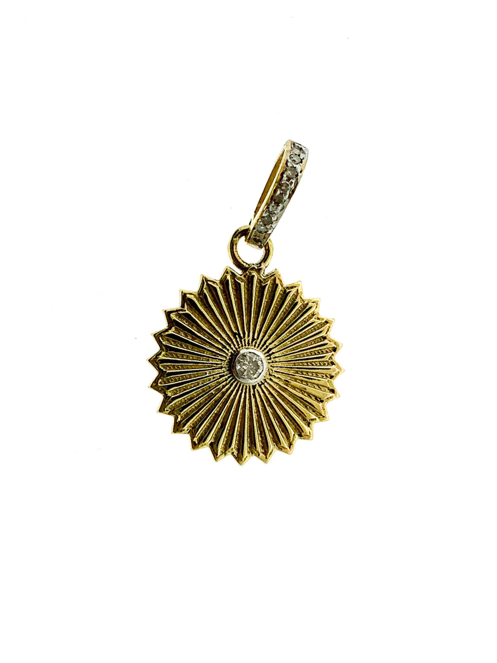 Brass Center Diamond Etched Circle Pendant