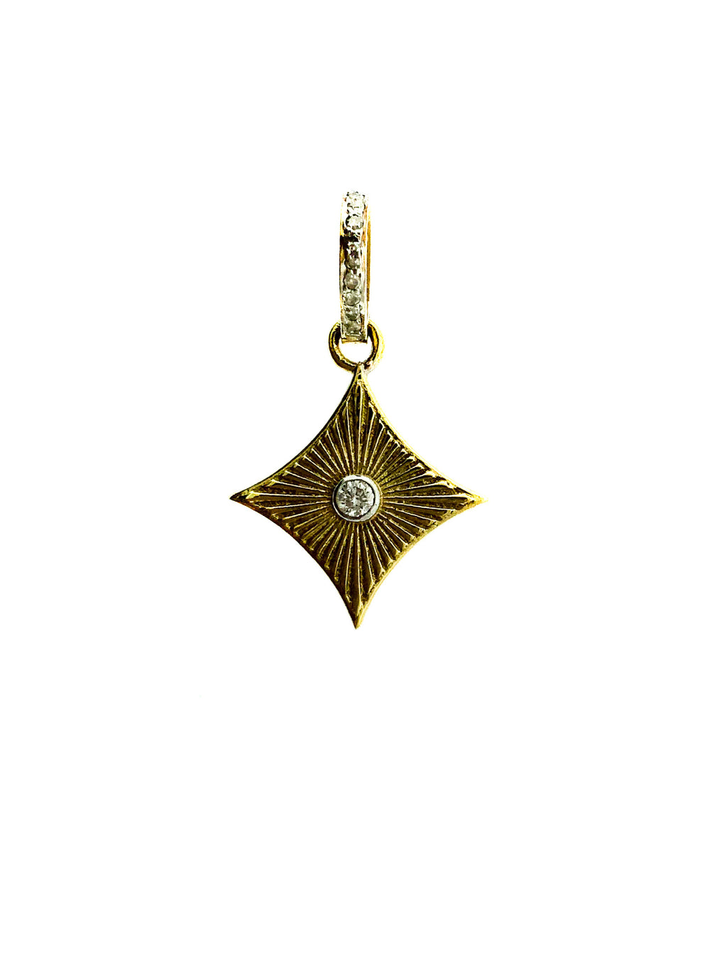 Brass Center Diamond Etched Cushion Pendant