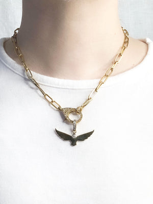 Brass Center Diamond Bird Pendant