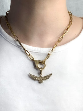 Brass Pave Diamond Bird Pendant