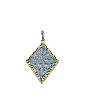 Sterling Silver Pave Diamond Harlequin Pendant