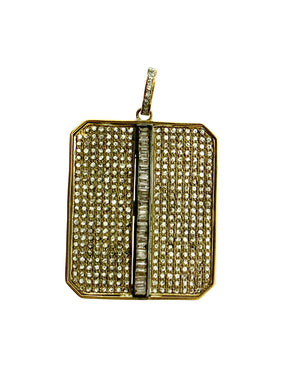 Brass Center Baguette Pave Diamond Dog Tag