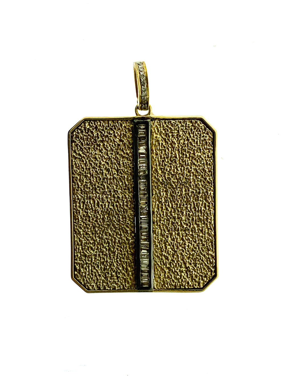 Brass Center Baguette Textured Dog Tag