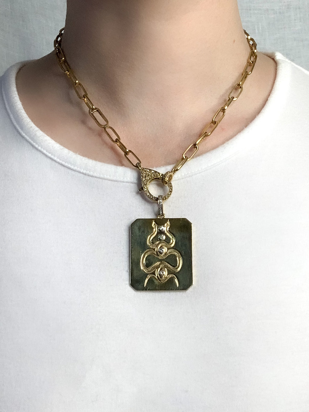 Brass Diamonds & Snakes Polished Dog Tag