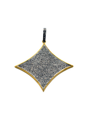 Sterling Pave Diamond Cushion Pendant