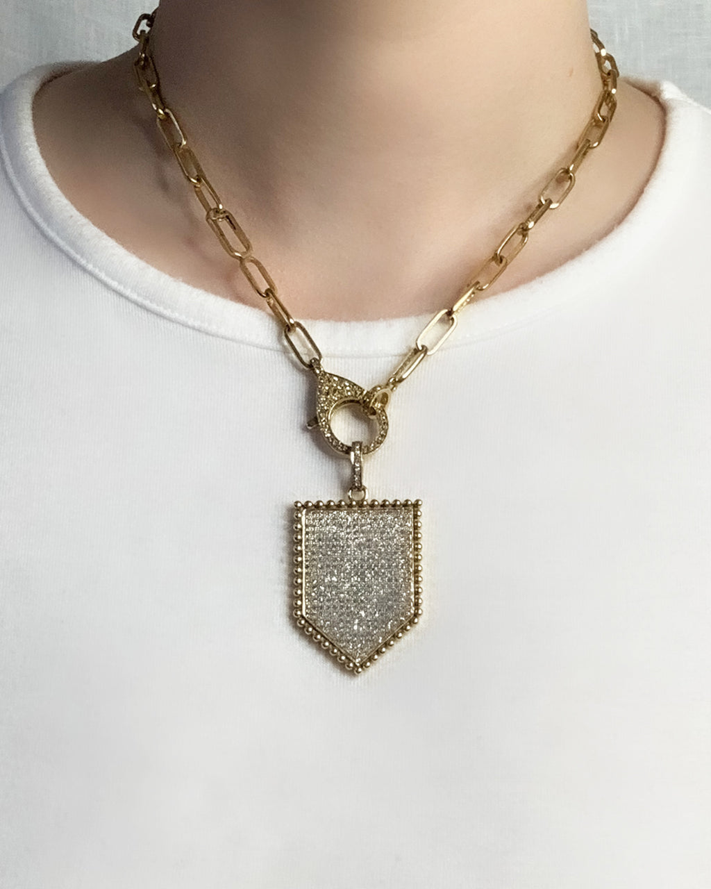 Brass Pave Diamond Shield Pendant - Medium