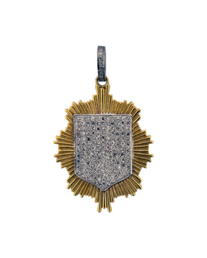 Sterling Pave Diamond Shield and Bale with Brass Etched Burst Background.