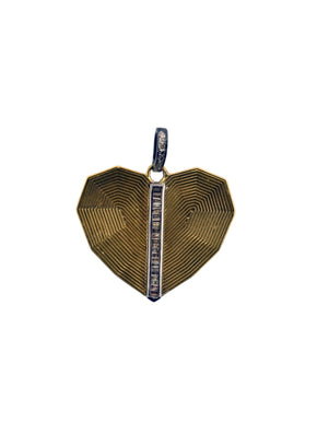 Etched Brass Heart with Pave Diamond Bale, and Baguettes Down Center