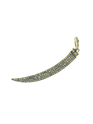 Brass Pave Diamond Horn with Baguettes Cap and Pave Bale