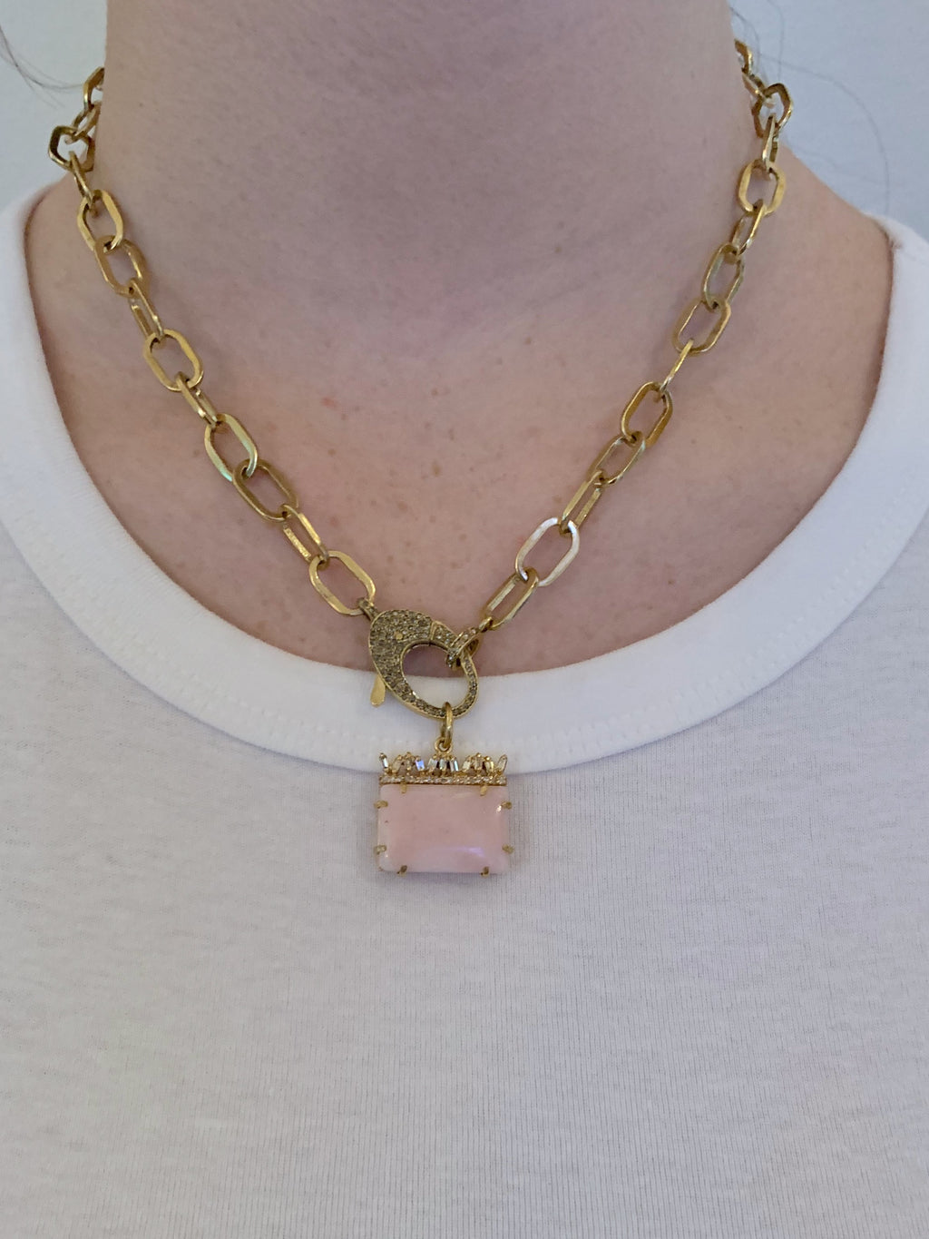 Pink Opal with Canted Diamond Baguettes in Brass.