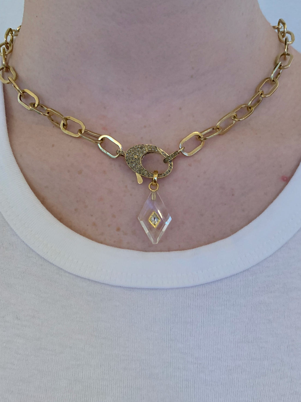 Crystal Quartz Harlequin with Diamond Inset in Brass.