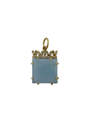 Aquamarine with Canted Diamond Baguettes in Brass.