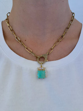 Chrysoprase with Canted Diamond Baguettes in Brass