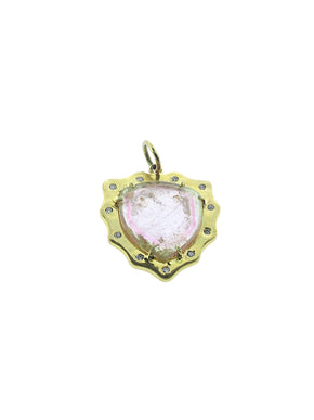 Pink Tourmaline Shield Set in Brass with inset Diamonds