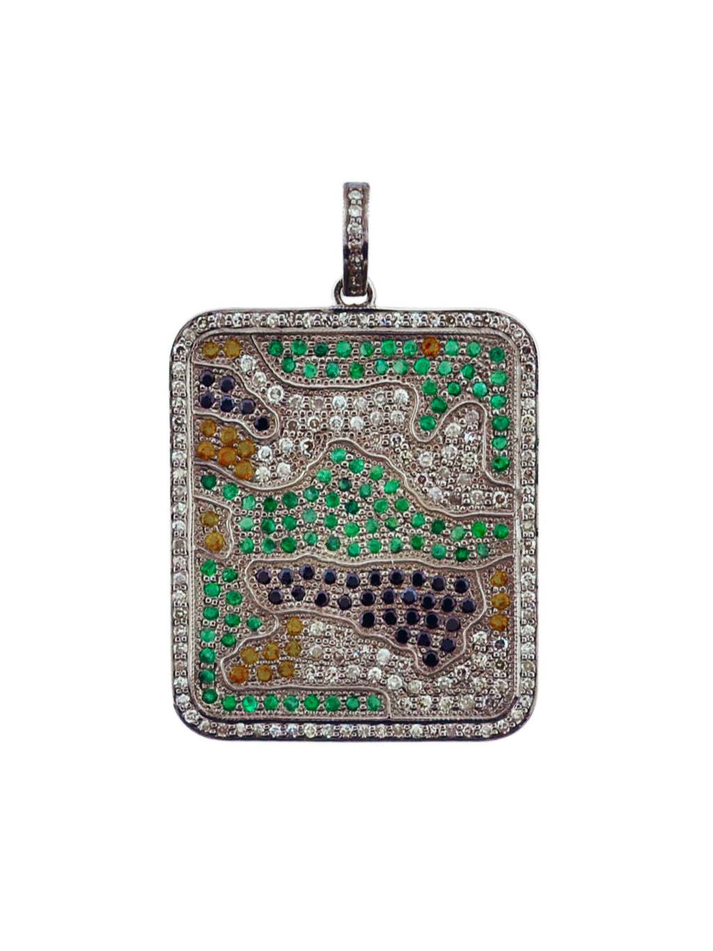 Pave Diamond, Emerald, and Sapphire Camoflauge Dogtag set in Sterling