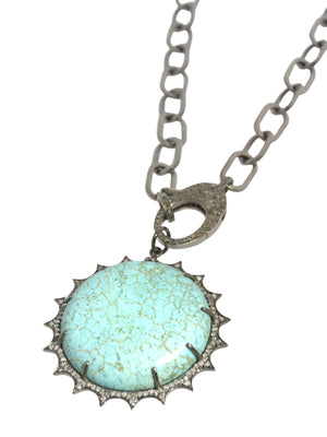 TurquoIse Pendant with Pave Diamonds in Sterling