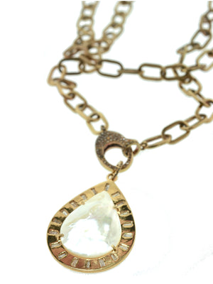 Mother of Pearl in Brass with Diamond Baguettes and Pave Diamond Bale