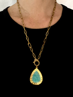 Carved Amazonite in Brass with Diamond Baguettes an Pave Diamond Bale