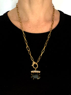 Onyx with Canted Diamond Baguettes in Brass