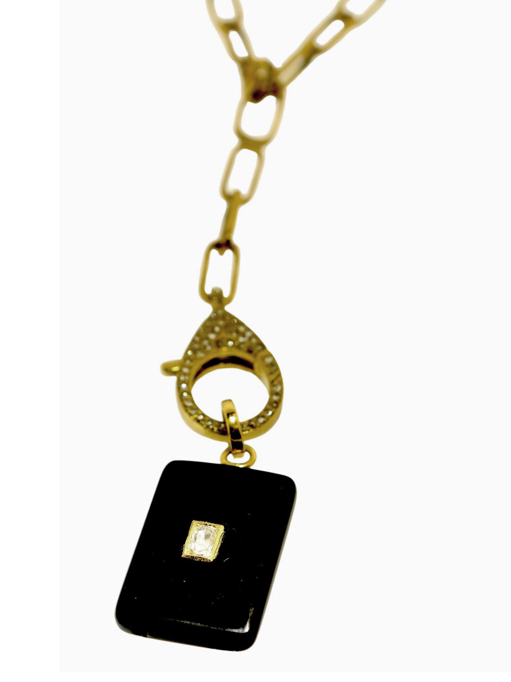 Onyx with Diamond inset in Brass