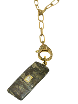 Pyrite with Diamond inset in Brass