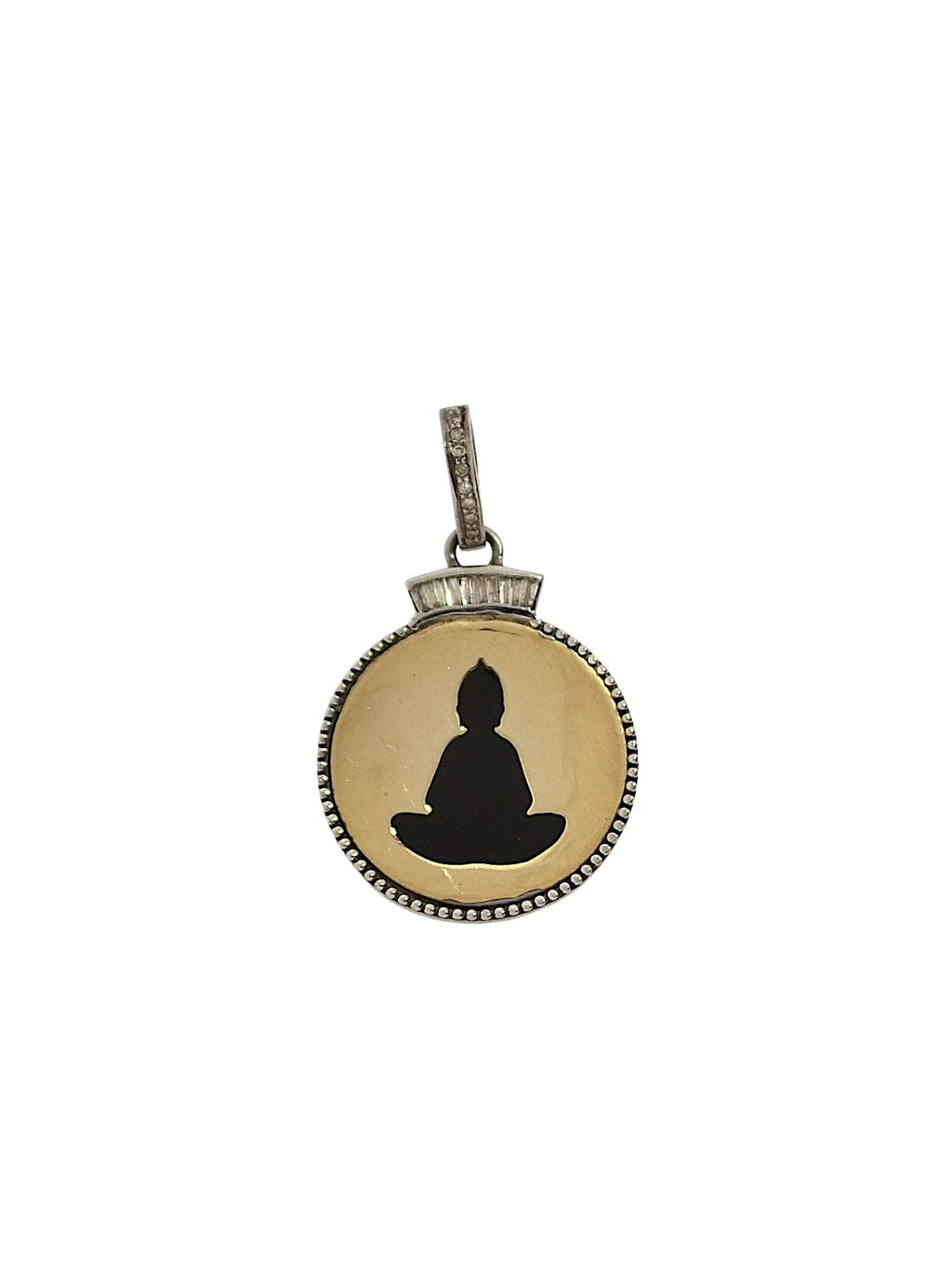 Buddha in Brass with Diamond Baguettes and Pave Bale